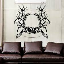 compare prices on hunting deer stickers online shopping buy low wall decal hunting deer rifle antlers decals bedroom decor sticker murals 22inchx24inch china