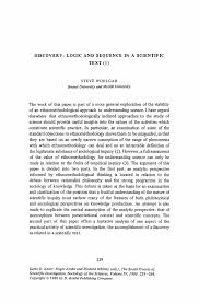 discovery logic and sequence in a scientific text 1 springer