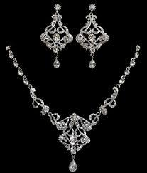 Diamond Chandelier Necklace Art Deco Bridal Jewelry Statement Necklace Chandelier Earrings