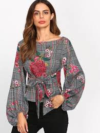 belted blouse multicolor mixed print exaggerated lantern sleeve belted blouse