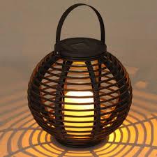 Wicker Table Lamp Dusk To Dawn Portable Solar Powered Globe Shape Rattan Outdoor