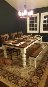 stained table top painted legs dianne bench james james furniture springdale arkansas