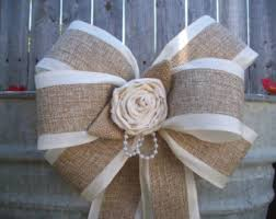 Wedding Pew Bows Wedding Decorations White Lace Pew Bows Burlap And Lace