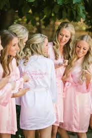 bridesmaids robes cheap a pink and white wedding for childhood sweethearts bridal