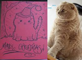 kawaii handmade christmas cards scottish fold kitten punk rock