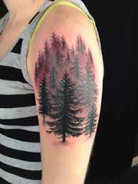pine tree tattoo i love the elk in this one tattoo stuff