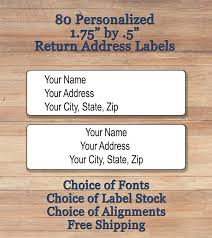 80 personalized printed peel u0026 stick elegant script return address