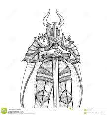 vector sketch illustration by hand medieval knight in heavy metal