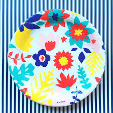 Tropical Party Themes - floral paper plate garden party plate garden decor tropical