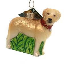 world standing yellow lab glass ornament sbkgifts