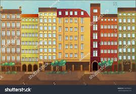 european style houses urban landscape european style riverfront houses stock vector