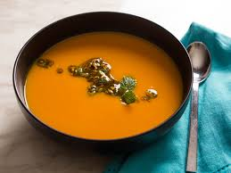 roasted sweet potato soup with pistachio orange and mint salsa