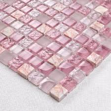 Glass Tiles Bathroom Pink Glass Stone Tile Mosaic Square 3 5