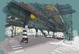 new york drawing mta subway simpson st handmade sketch painting