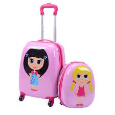 Utah traveling suitcase images Goplus 2pc 12 quot 16 quot kids upright hard side carry on luggage set jpg