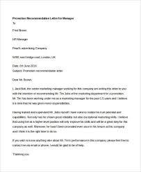 Recommendation Letter 10 promotion recommendation letters free premium templates
