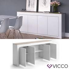Wohnzimmerschrank Verkaufen Vicco Sideboard Roma 190 Cm Weiß Hochglanz Real