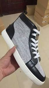christian louboutin rantus leather canvas high top sneakers black
