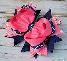 girl hair bows hair bows navy blue pink hair bows stacked hair bow big hair