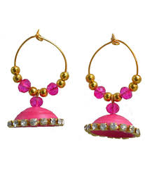 buy jhumka earrings online kaagitham pink ethnic handmade paper quilling hoop jhumka earrings