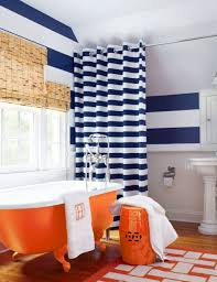 Garden Bathroom Ideas by Bathroom With Stripes Walls And Shower Curtain Also Using Orange
