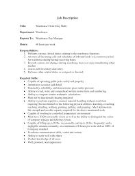 Stock Clerk Job Description For Resume by Resume Stock Clerk Resume
