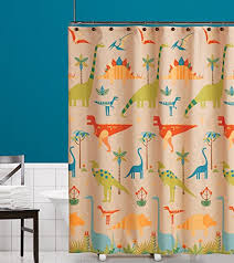 Kids Fabric Shower Curtain - how to create the perfect dinosaur themed bathroom for little kids