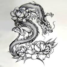 dragon with peonies tattoo design