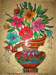 Painting Designs Glass Painting Colourful Basket Of Flowers Calligraphy Art
