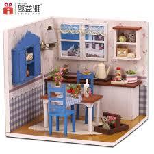 dolls house kitchen furniture miniature diy wooden doll house kitchen building model furnituretoy