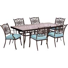 traditions 7 piece dining set in blue with extra large glass top