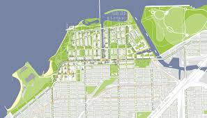 Chicago Walking Map by Som Chicago Lakeside Master Plan