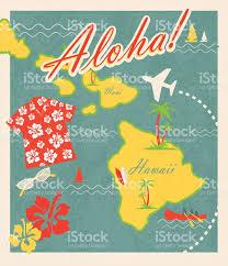 Hawaii Big Island Map Aloha Retro Hawaiian Luau Map Design Travel Theme Invitation