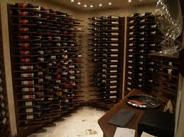 Wooden Material Element Fancy Wooden Wine Cellar Design In Lush Cube And Column Also Shelf