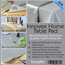 flannel backed vinyl table pad innovee revolutionary table pad protects from spills heat 52 x