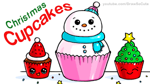 how to draw christmas cupcakes step by step easy and cute youtube