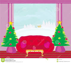 christmas tree in a room clipart collection