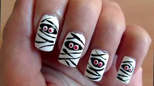 mummy nail art tutorial for halloween youtube