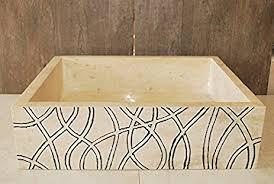 stone vessel sink amazon engraved light travertine stone vessel rectangular sink