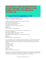 test bank for statistics for managers using microsoft excel 7th