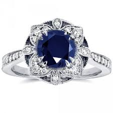 antique rings sapphire images White gold round cut sapphire and 1 4ct tdw diamond floral antique jpeg