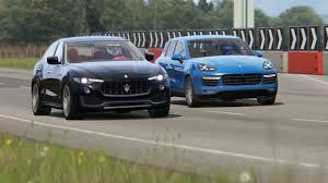 porsche maserati battle porsche cayenne turbo vs maserati levante s vs range rover