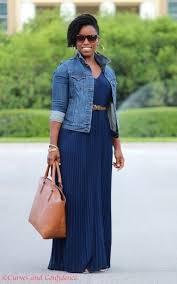 women u0027s blue denim jacket navy pleated maxi dress tan leather