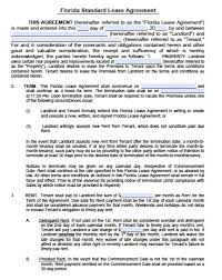 free florida residential lease agreement pdf word doc