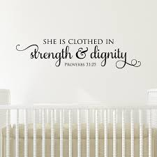 Powder Room Quotes Strength U0026 Dignity Wall Quotes Decal Wallquotes Com