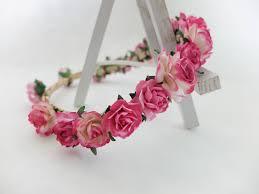 flower crowns hot pink bridal flower crown hair garland wedding accessories