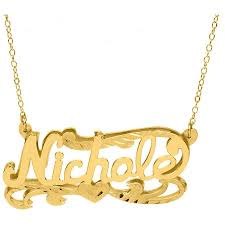 Nameplate Necklace Double Plated 10kt Yellow Gold Double Name Plate 18