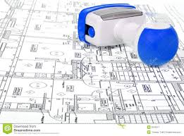architectural plans and stamp royalty free stock photography architectural plans