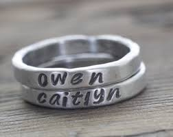 engraved stackable mothers rings rustic mothers ring etsy