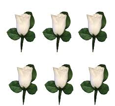 amazon com set of 6 white rose boutonniere with pin for prom